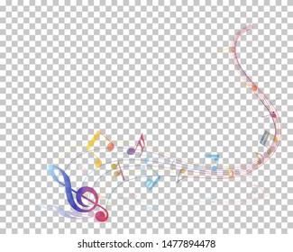 Musical Notes Background. Transparency Grid Design. Vector Illustration.