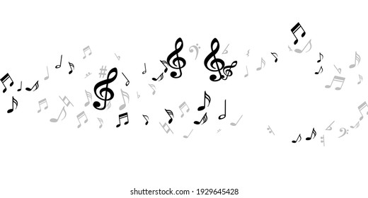 Musical notes cartoon vector illustration. Sound composition signs burst. Jazz music wallpaper. Isolated notes cartoon elements with sharp. Birthday card graphic design.