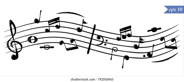 Musical notes in flowing design of elements in realistic style, vector illustration