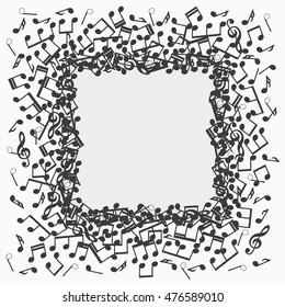 Musical notes frame or border; Black flat musical notes background vector