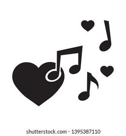 musical notes and heart, vector logo icon