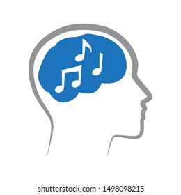 musical notes inside human brain, vector