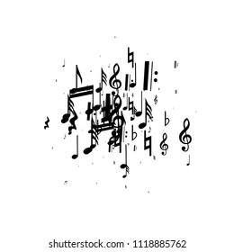 Musical Notes on White Background.  Many Random Falling Bass, Treble Clef and Notes. Vector Musical Symbols.  Abstract White and Black Vector Background. Jazz Background.