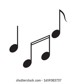 Musical notes outline icon. Vector illustration on an isolated white background.