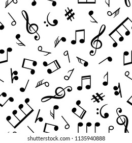 Musical notes pattern. Music note icons drawn seamless pattern, retro sound background, vector illustration