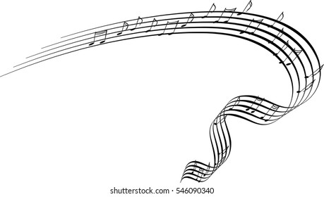 Musical notes ribbon spiral, music graphic element vector design for concerts and music