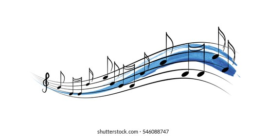 Musical notes ribbon spiral wave, music graphic element vector design for concerts and music, artistic watercolor style