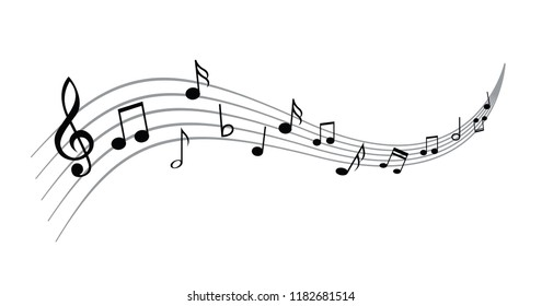 Musical notes stave line pattern symbols icon for staff and music note theme Transparent background wave  Piano, jazz sound notes Fun vector key sign Classic clef Doodle quaver G  melody on paper