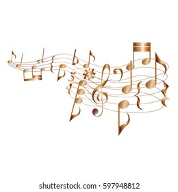 Musical notes and swirl score./Musical notes on curly stave vector element.