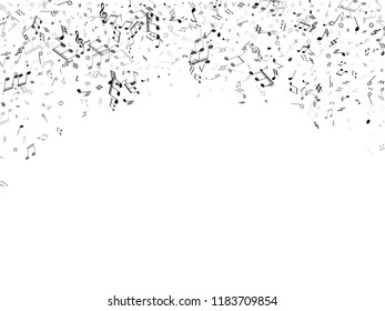 Musical notes symbols flying vector illustration. Notation melody record signs. Musician album background. Monochrome melody sound notes signs.
