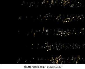 Musical notes symbols flying vector background. Notation melody record classic pictograms. Modern music studio background. Gold metallic melody sound notes signs.