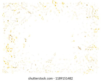 Musical notes symbols flying vector background. Notation melody record classic elements. Bass guitar play background. Gold metallic melody sound notation.