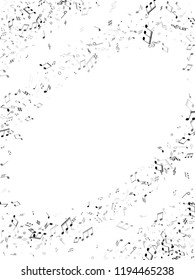Musical notes symbols flying vector background. Notation melody record signs. Concert poster backdrop. Grey scale melody sound notes icons.