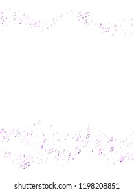 Musical notes symbols flying vector illustration. Notation melody record classic concept. Retro music studio background. Ultra violet sound recording notes.