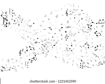 Musical notes symbols flying vector design. Notation melody record classic signs. Tune composition background. Gray scale melody sound notation.