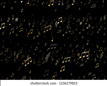 Musical notes symbols flying vector background. Notation melody record clip art. Concert poster background. Gold melody sound notes icons.