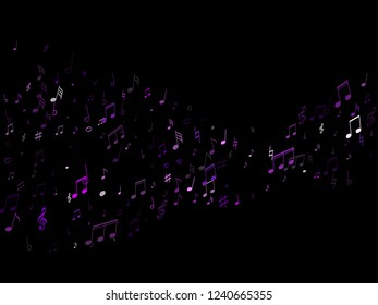 Musical notes symbols flying vector design. Notation melody record clip art. Piano instrument tune background. Purple violet musical notation.