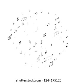 Musical notes symbols flying vector illustration. Notation melody record elements. Retro music studio background. Gray scale melody sound notes icons.