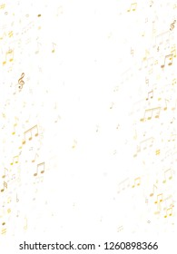 Musical notes symbols flying vector illustration. Notation melody record classic icons. Jazz music studio background. Gold metallic musical notation.