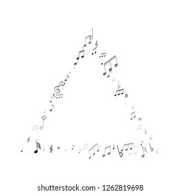 Musical notes symbols flying vector illustration. Notation melody record concept. Futuristic music studio background. Black on white melody sound notation.
