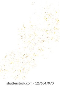 Musical notes symbols flying vector design. Notation melody record classic clip art. Tune symphony background. Gold metallic musical notation.