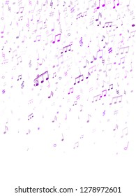 Musical notes symbols flying vector design. Notation melody record signs. Concert poster backdrop. Blue violet melody sound notation.