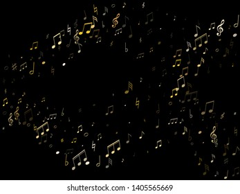 Musical notes symbols flying vector illustration. Notation melody record pictograms. Piano instrument tune background. Gold metallic musical notation.