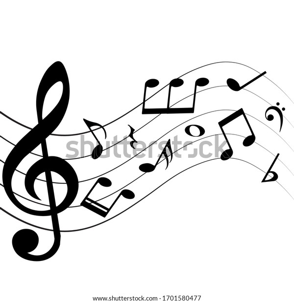Musical notes and symbols on white background, vector illustration.