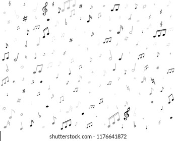 Musical notes, treble clef, flat and sharp symbols flying vector design. Notation melody record signs. Jazz music studio background. Monochrome musical note.