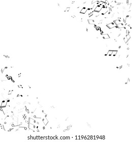 Musical notes, treble clef, flat and sharp symbols flying vector design. Notation melody record silhouettes. DJ instrument tune background. Grayscale musical notation.