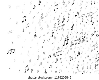 Musical notes, treble clef, flat and sharp symbols flying vector illustration. Notation melody record elements. Tune symphony background. Greyscale musical notation.