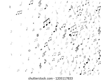 Musical notes, treble clef, flat and sharp symbols flying vector illustration. Notation melody record concept. Jazz music studio background. Black on white melody sound notation.