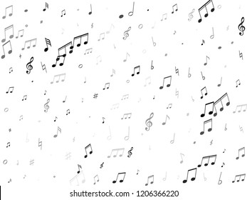 Musical notes, treble clef, flat and sharp symbols flying vector illustration. Notation melody record classic icons. Modern music studio background. Monochrome musical notation.