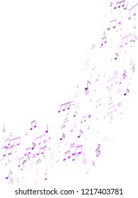 Musical notes, treble clef, flat and sharp symbols flying vector illustration. Notation melody record signs. Popular music studio background. Blue violet melody sound notation.