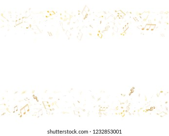 Musical notes, treble clef, flat and sharp symbols flying vector design. Notation melody record pictograms. DJ instrument tune background. Gold metallic musical notation.
