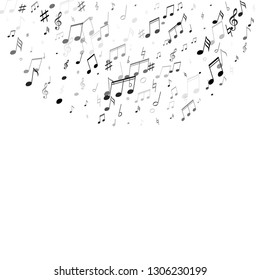 Musical notes, treble clef, flat and sharp symbols flying vector design. Notation melody record silhouettes. Rock music studio background. Black melody sound notation.