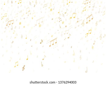 Musical notes, treble clef, flat and sharp symbols flying vector background. Notation melody record classic icons. Audio album background. Gold metallic melody sound notes.