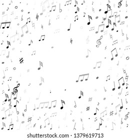 Musical notes, treble clef, flat and sharp symbols flying vector illustration. Notation melody record classic concept. Cartoon music studio background. Black melody sound notes signs.
