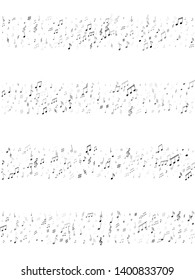 Musical notes, treble clef, flat and sharp symbols flying vector design. Notation melody record classic icons. Tune radio wave background. Greyscale melody sound notation.