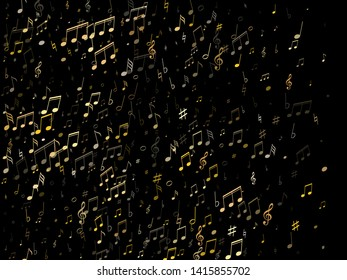 Musical notes, treble clef, flat and sharp symbols flying vector design. Notation melody record classic clip art. Futuristic music studio background. Gold melody sound notation.