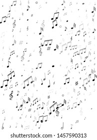 Musical notes, treble clef, flat and sharp symbols flying vector background. Notation melody record pictograms. Rock music studio background. Greyscale melody sound notes icons.