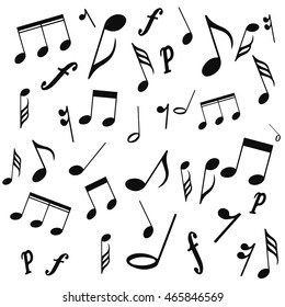 musical notes, treble clef, vector, on a white background