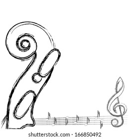 Musical notes with violin background on white. Vector illustration