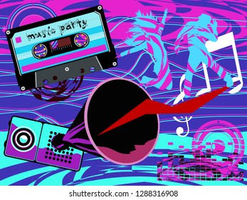 Musical party. Dance floor. Disco retro style. Music festival radio stations. Show program. Musical group. Performers retro style.