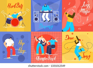 Musical Performances Flat Vector Concepts Set. Drummer Playing on Drums, Dancing DJ, Jazz Musician with Saxophone, Hip Hop Singer, Guitar Players and Vocalist Woman Singing on Stage Illustrations