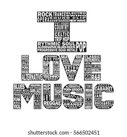 Musical poster concept. All music styles typing template. EPS 8