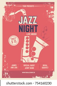 Musical Poster in retro style. Invitation for music festival. Vector design template with place for your text. Jazz poster music, musical band invitation illustration