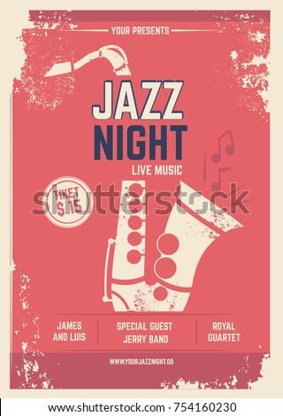 musical poster retro style invitation music のベクター画像素材