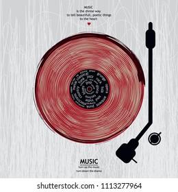 Musical poster for your design. Music elements design for card, invitation, flyer. Music background vector illustration. Vinyl record.