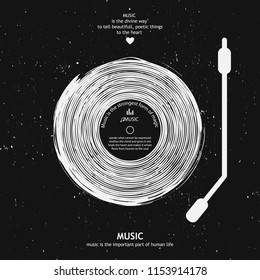 Musical poster for your design. Music elements design for card, invitation, flyer. Music background vector illustration. Vinyl record.